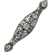 Gorgeous Art Deco Platinum Diamond Sapphire Pin Brooch