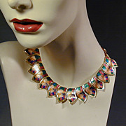 Vintage Art Deco Style Multi-Color Enamel Necklace