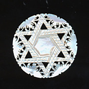 Vintage Carved Mother-of-Pearl Star of David Judaica Pin