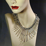 Modernist Sterling Silver Collar Bib Necklace Sultry Spikes