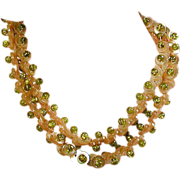 Long Fun 2-Color Lucite Buttons Beads Necklace