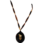 Faux Tortoise Shell Pendant Necklace - Exotic Lady