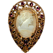 Vintage FLORENZA Teardrop Cameo Pin Brooch w/ Faux Garnets