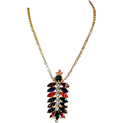 Vintage Dangling Rhinestone Necklace - Great Multi-Color 'Drip'