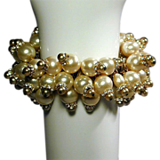 Huge Fabulous Faux Pearls Expansion Bracelet 1960s w/ Rhinestones