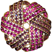 Crown Trifari Pink & Purple Rhinestone Pin Brooch