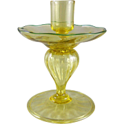 REDUCED Victor Durand Art Glass Spanish Yellow Candlestick
