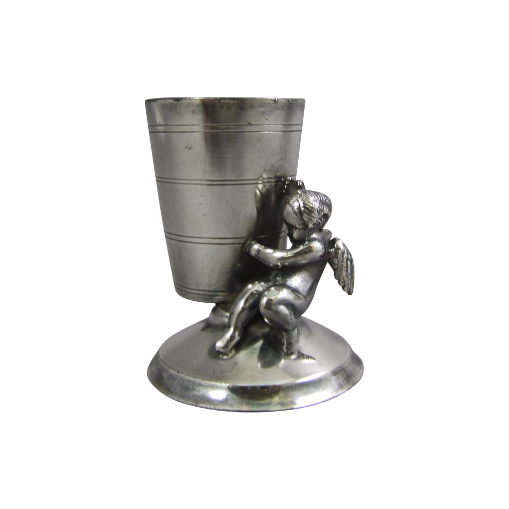 Rockford Silver Plated Toothpick Holder Cherub Cupid From