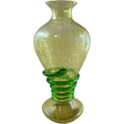 Vaseline Uranium Crackle Glass Vase with Applied Green Serpent