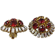 Hattie Carnegie Ruby Red and Crystal Baguette Earrings