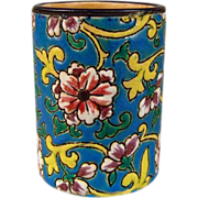 Longwy Match Holder with Striker in Polychome Enamel Faience