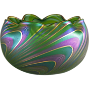 REDUCED Austrian Bohemian Art Glass Pulled Wave Pattern Bowl