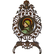 Hand Painted Portrait Plaque of a Medieval Renaissance Lady