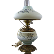Victorian Satin Glass Kerosene Parlor Gone With the Wind Lamp