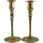Steuben Gold Aurene 686 Twist Stem Candlestick Pair 10 inches