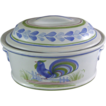 Henriot Quimper Cordon Bleu Coq Casserole Dish and Cover Faienceries de Quimper