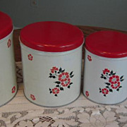 Red Poppy (Hall) 4 Piece Canister Set Excellent Condition