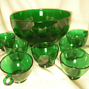 Hocking Forest Green Punch Bowl Set Perfect for Christmas