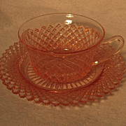 Hocking Miss America Pink Cup & Saucer