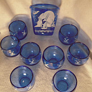 Hazel-Atlas Windmill  Cobalt Blue Glasses & Ice Bucket Set