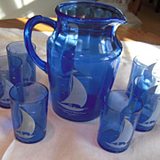 Hazel Atlas White Ship Cobalt Pitcher & Glasses Set