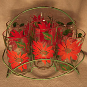 Set of Six Vintage Hazel-Atlas Poinsettia Christmas Glasses in Carrier