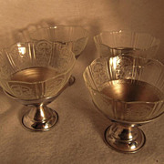 Crysal American Sweetheart Sherbet with Chrome Base Set of Four