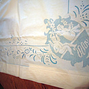 Beautiful Vintage Wedding Sheet  with Cherubs