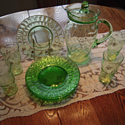 Vintage Federal Green Thumbprint Pitcher Glasses Plates