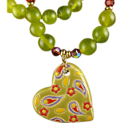 SALE Heart's Desire - Necklace of Stoneware, Jade, Crystals and Gold Fill