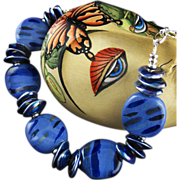 SALE Blue Heaven Necklace - Kazuri Beads, Greek Ceramic and Fine Silver