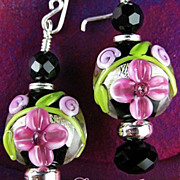 SALE Pink Love Earrings - Lampwork Glass, Crystals and Sterling Silver