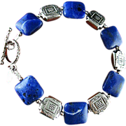 Southwest Blue Bracelet - Sodalite Gemstones and Sterling Silver