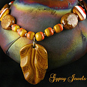 SALE Golden Tangerine Dream - Necklace of African Kazuri Beads, and Gold Vermeil