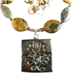 Raku Flower Pendant - Necklace with Citrine, Ceramic and Rhyolite Stones