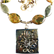 SALE Raku Flower Pendant - Necklace with Citrine, Ceramic and Rhyolite Stones