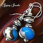 SALE Another World - Earrings of Handmade glass and Sterling Silver