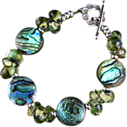 SALE Oceania - Abalone Shell Bracelet with Handmade Glass