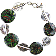 Deep Forest Bracelet - Silver leaves and  Kazuri Beads