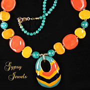 Carnival -  Necklace with Kazuri Beads and Russian Amazonite