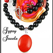 SALE Sublime - Black Onyx and Coral Necklace with Sterling