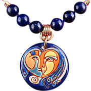 SALE Goddess of Fortune - Necklace with Copper, Ceramic and Stones