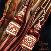 SALE Gypsy Earrings - Stoneware, Jasper, copper and Niobium ear-wires