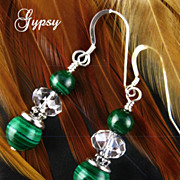 Malachite and Crystal Handcrafted Earrings