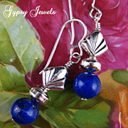 Lapis Earrings with Sterling Deco style beads