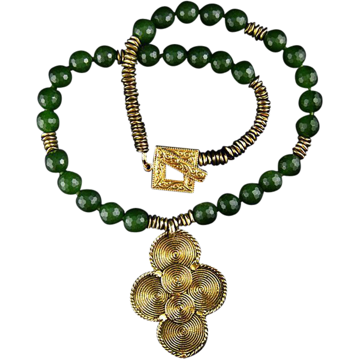 Six Spirals Brass Pendant Necklace with Canada Jade