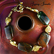 African Green Opal - Handmade Bracelet with Gold Spiral Beads