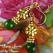 SALE Golden Flowers - Canada Jade Earrings with Gold Accents