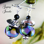 Beautiful World -  Earrings of Handmade Glass and Silver Accents