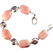 SALE In the Pink  - Bracelet of Pink Opal with Silver accents.
